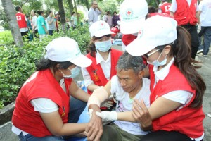 Diễn tập phòng ngừa, ứng phó sạt lở đất hưởng ứng Ngày Sơ cấp cứu thế giới năm 2014