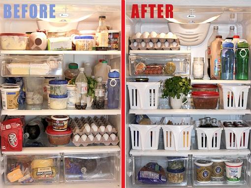 Dọn dẹp lại tủ lạnh giúp bạn dễ hình dung những thứ còn thừa hay thiếu trong tủ lạnh.