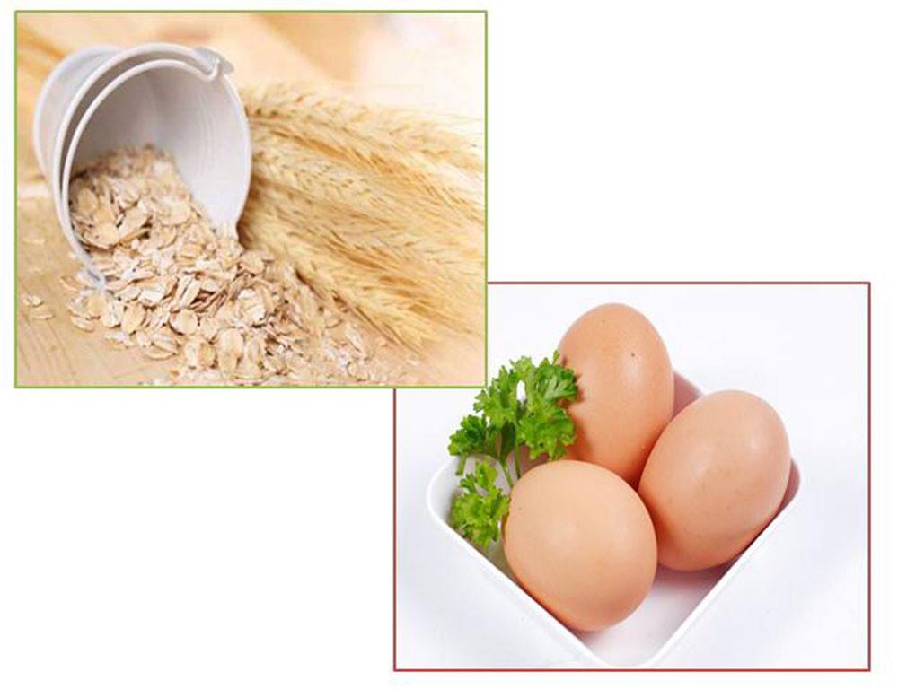 Mặt nạ trị mụn bằng trứng gà và bột yến mạch