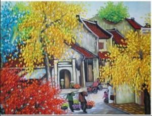 Bức tranh sơn dầu với khu phố cổ nhộn nhịp ở Hà Nội