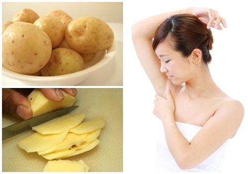 Làm trắng vùng da nách bằng khoai tây