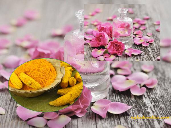 Tinh bột nghệ và nước hoa hồng
