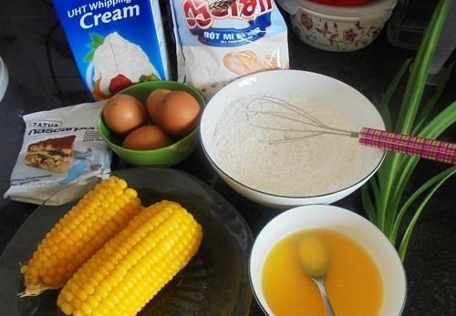 Nguyên liệu thực hiện món bánh kem bắp