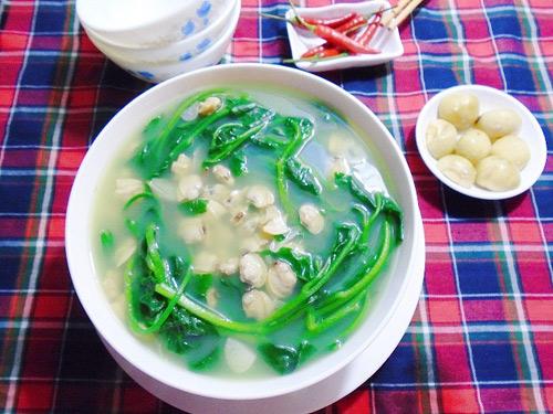 Món ăn tăng cường sinh lý phái mạnh - Canh ngao nấu mồng tơi