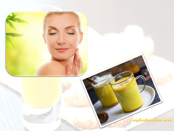 Uống tinh bột nghệ vàng mật ong làmtrắng da
