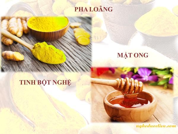 Uống tinh bột nghệ vàng và mật ong chữa đau dạ dày dạng pha loãng