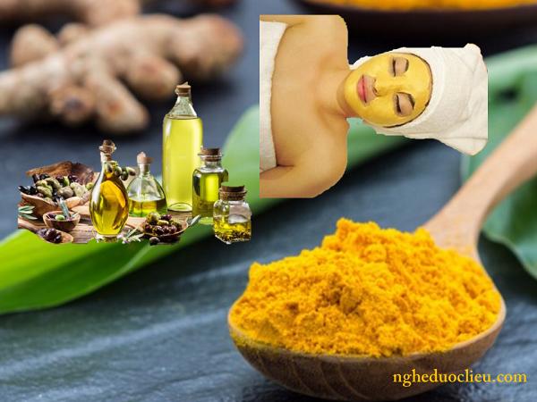 tinh bột nghệ vàng kết hợp với dầu oliu vừa trị mụn vừa dưỡng ẩm